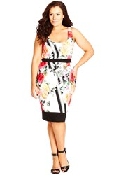 City Chic 'Hot Bloom' Floral Print Sheath Dress Plus Size Hot Coral