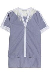 Sandro Lace Paneled Pinstriped Cotton Poplin Top Blue