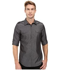 Calvin Klein Long Sleeve Y D 2 Pocket Chambray Roll Up Collar Shirt Castle Rock Men's Long Sleeve Button Up Black