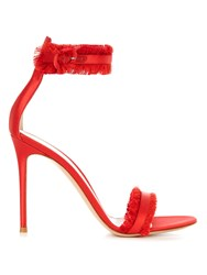 Gianvito Rossi Caribe Fringed Satin Sandals Red