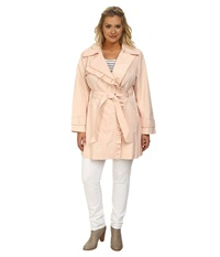 Jessica Simpson Plus Size Asymmetrical Zip Ruffle Front Trench Blush Women's Coat Pink