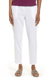 Eileen Fisher Women's Tapered Organic Cotton Ankle Pants White