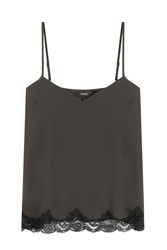 Theory Crepe Camisole With Lace Green