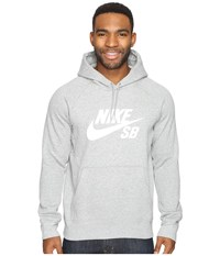 Nike Sb Icon Hoodie Dark Grey Heather White Men's Sweatshirt Gray