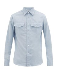 Dunhill Chest Pocket Cotton Blend Flannel Shirt Light Blue