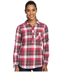 Columbia Coral Springs Ii Woven Long Sleeve Shirt Purple Dahlia Plaid Women's Long Sleeve Button Up Red