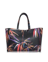 Emilio Pucci Bamboo Print Black And Orange Leather Tote