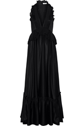 Givenchy Ruffled Gown In Black Silk Satin