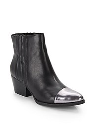 Kenneth Cole Hansley Cap Toe Leather Ankle Boots Black Pewter