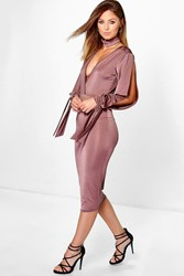 Boohoo Choker Slinky Split Sleeve Midi Dress Mocha