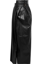 A.W.A.K.E. Mode Pirt Asymmetric Layered Faux Leather Maxi Skirt Black