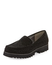 Donald J Pliner Sparkle Studded Suede Loafer Black