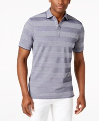 Club Room Birdseye Striped Polo Only At Macy's Navy Blue