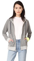 Sundry Colorblock Zip Up Hoodie Heather Grey