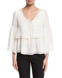 Cinq A Sept Wisteria 3 4 Sleeve Tiered Blouse Ivory