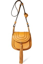 Chloe Hudson Mini Whipstitched Leather Shoulder Bag Saffron