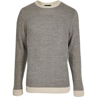River Island Mens Grey And Cream Textured Knit Jumper