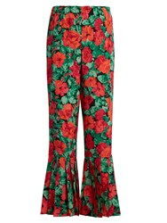 Gucci Floral Print Pleated Hem Silk Trousers Red Print