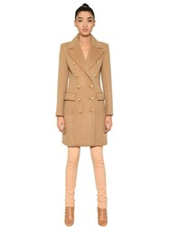 Balmain Double Breasted Wool And Cashmere Coat