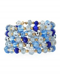 Emily And Ashley Multi Row Simulated Crystal Wrap Bracelet Blue