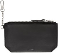 Versace Black Clip On Chain Coin Pouch