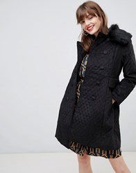 Darling Double Breasted Coat With Faux Fur Lining Black