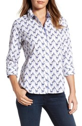 Foxcroft Women's Flamingo Print Wrinkle Free Shirt