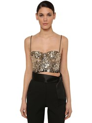 Elie Saab Cropped Sequin Cady Bustier Top Gold