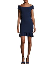La Petite Robe Di Chiara Boni Dalane Cap Sleeve Flounce Cocktail Dress Navy