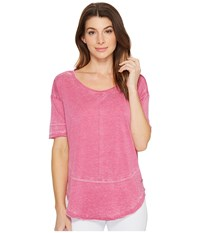 Jag Jeans Caf Tee In Burnout Jersey Pink Geranium Women's T Shirt Red