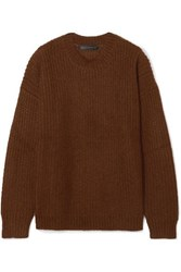 Sally Lapointe Oversized Ribbed Mohair Blend Sweater Dark Brown