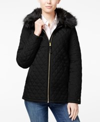 Tommy Hilfiger Faux Fur Quilted Barn Jacket Black