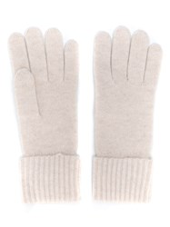 N.Peal Ribbed Cashmere Gloves Neutrals