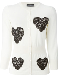 Dolce And Gabbana 'Sacred Heart' Applique Cardigan White