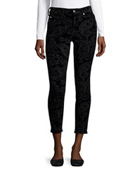 7 For All Mankind Jacquard Textured Ankle Skinny Pants Black Velvet Paisley