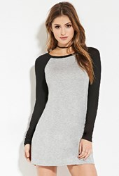 Forever 21 Baseball T Shirt Dress Heather Grey Black