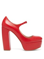 Miu Miu Leather Platform Mary Jane Pumps Red
