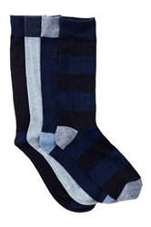 Lucky Brand Rib And Stripe Crew Socks Pack Of 4 Blue