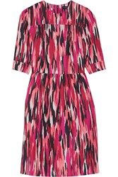 Jonathan Saunders Mila Printed Slub Cotton Blend Dress Pink