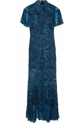 Anna Sui Cape Effect Embroidered Silk Chiffon Gown Teal
