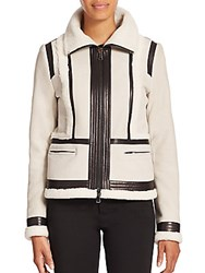Vince Shearling And Leather Trimmed Suede Moto Jacket Off White