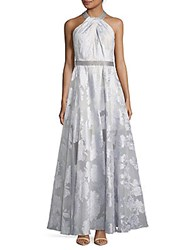 Carmen Marc Valvo File Coupe Embroidered Halter Gown Silver