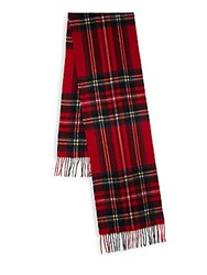 Yves Saint Laurent Wool Cashmere Plaid Scarf Red