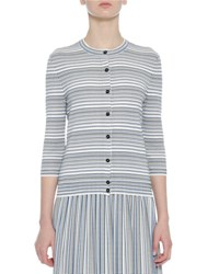 Bottega Veneta Knit Striped 3 4 Sleeve Cardigan Blue White