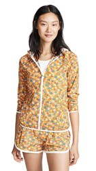 Tory Sport Printed Packable Jacket Ritzy Floral Vibrant Orange
