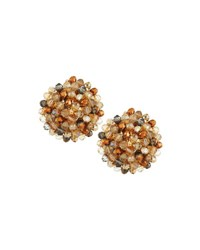 Emily And Ashley Crystal Beaded Stud Earrings Champagne Multi