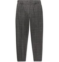 Club Monaco Plaid Slim Fit Tapered Puppytooth Stretch Wool Trousers Charcoal