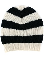Ermanno Scervino Striped Knit Beanie Black