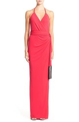 Women's L'agence 'Sabrina' Matte Jersey Halter Gown Red Exclusive