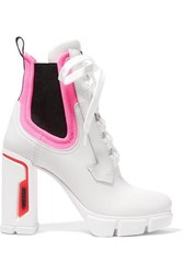 Prada Logo Embossed Rubber And Neoprene Trimmed Leather Ankle Boots White